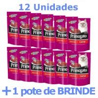 Combo Sache Primogato Carne 12 unidades + Brinde