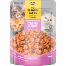 Sachê Three Cats Carne ao Molho 85g