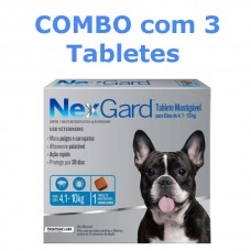 Combo Nexgard 4 a 10kg com 3 Tablets